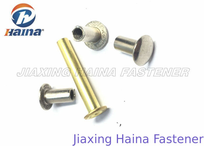 Clothing Hollow Brass Blind Rivets Nuts Round Head , Flat Head Rivet Carbon Steel For Footwear