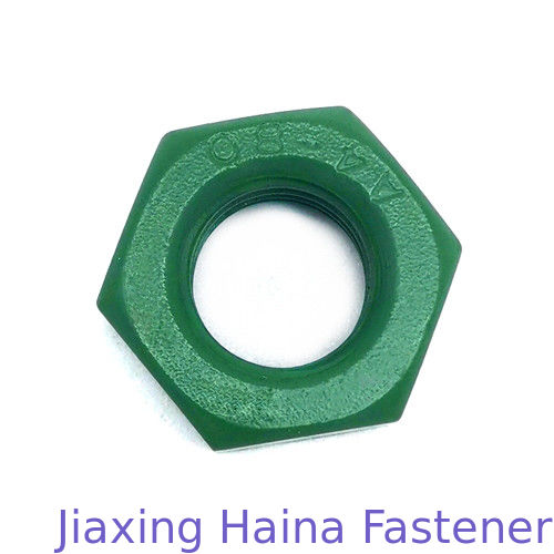 A4 - 80 4.8 / 8.8 Gread Hex Head Nuts Carbon Steel Green Teflon Coated